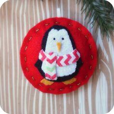 Cozy Winter Penguin No 2  Felt Christmas Ornament by TheTinyGarden, $10.50