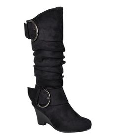 Another great find on #zulily! Black Irene Wedge Boot by Journee Collection #zulilyfinds