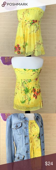 Buffalo David Bitton Sleeveless Top Size M Vivid yellow with floral print, this Buffalo David Bitton looks great alone or styled for fall with a denim jacket. Use it as a little pop of color by styling with super dark denim. Lined. Size M. Buffalo David Bitton Tops