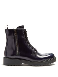 Lace-up leather brogue ankle boots   Prada   MATCHESFASHION.COM