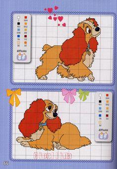 Lady and the tramp x-stitch pattern