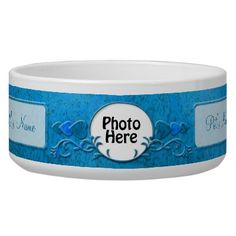 Blue Photo and Name Earthen Fancy Pottery Dog Food Bowl by ZuzusFunHouse. http://petrescuesigns.com