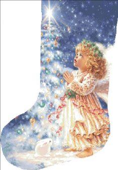 christmas stocking cross stitch patterns and kits Cross Stitch Christmas Stockings, Cross Stitch Stocking, Christmas Stocking Pattern, Christmas Stocking Holders, Xmas Stockings, Christmas Cross, Christmas Wishes, Free Cross Stitch Charts, Cross Stitch Kits