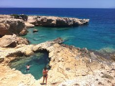 Heart shaped natural pool in Koufonisia