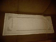 """Vintage Cutwork Hemstitch White Cotton Linen Table Runner 37""""X 15"""""""