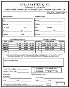 Printable Sample Lawn Service Contract Form  Blank Real Estate