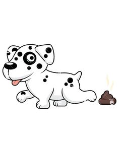 Charming Dalmatian Dog Pooping: Royalty-free stock vector illustration of a cute Dalmatian dog with distinctive black spots all over its body, covering its poop. #puppy #dog #pup #dalamtian #poop #friendlystock #clipart #vector #art #graphic