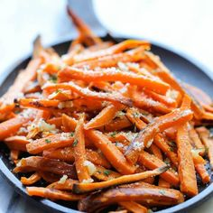 Baked Garlic Sweet Potato Fries -- amazingly crisp on the outside and tender on the inside, and so much better than the fried version!