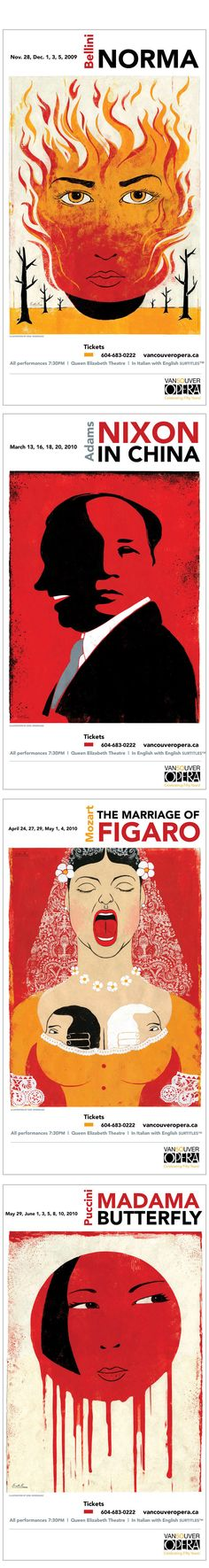 Vancouver Opera posters designed by Edel Rodriguez
