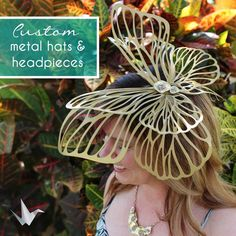 Your place to buy and sell all things handmade Headdress, Headpiece, Custom Metal, Butterfly Design, Metal Art, Wearable Art, Fascinator, Hair Styles, Spring