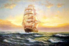 Картина : Фрегат Художник Минаев Сергей Владимирович Modern Wall Art, Unique Art, Sailboat, Sailing Ships, Lighthouse, Decoupage, Foyer, Art Work, Frames