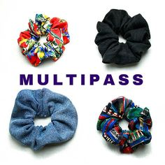 Hair Scrunchie Multi Pack of Four 80s 90s Hair by FannyAdamsVC
