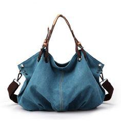 Leisure Street-chic Blue Canvas Handbag Shoulder Bag onfancy
