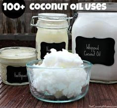 There are many benefits of using coconut oil. It's known to help boost the immune system, nourish the skin and increase energy. Here are over 100 everyday coconut oil uses. Coconut oil is known for its many uses in the kitchen but did you know. Whipped Coconut Oil, Coconut Oil Lotion, Natural Coconut Oil, Coconut Oil For Acne, Coconut Oil Hair Mask, Cooking With Coconut Oil, Organic Coconut Oil, Cooking Oil, Natural Skin