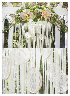 ribbons and lace backdrop, wedding ceremony arch. Gorgeous!