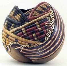 DIY Bowl Inspiration: Combine gourd art and weaving project.  | gourdvisions.com