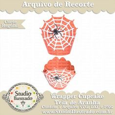Wrapper Cupcake Teia de Aranha, Cobweb, Web, Spider, Halloween, Silhouette, Regular Cut, Corte Regular, SVG, DXF, PNG