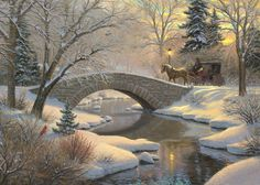 Evening Romance by Mark Keathley ~ winter yesteryear horse-drawn carriage stone bridge