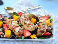 Fresh salad with fruit, spicy grilled chicken, praline pecans, and feta, tossed with Champagne vinaigrette. A healthy, nutritious, and delicious salad from a cover girl!