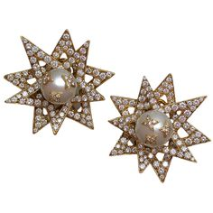 Chanel Pearl and Diamond Starburst Earclips