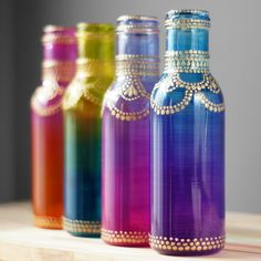 Boho Henna Art Vase, Ombre Home Gift, Glass Bottle Table Decor with Hand Painted Ombre Glass with Golden Mehndi Design