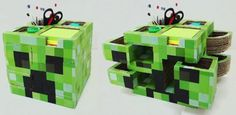 Minecraft Desktop Organizer Cardboard Project - by Te Digo Cómo Se Hace - == -  Take a look at the video below to learn how to build this very nice and original Minecraft Desktop Organizer, made with cardboard. By Te Digo Cómo Se Hace team.