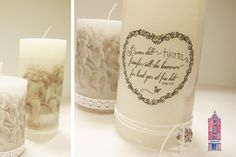 Decorate candles with napkins