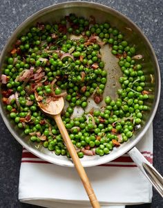 Ina Garten's Peas and Pancetta. A sweet and salty make-ahead side dish for the holidays.: