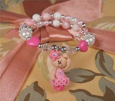 Bear Ballerina Bracelet - Girls Kids Pink Personalized  Dancing Bear Princess Polymer Clay Charm Toddlers Birthday Dance Gift HANDMADE: