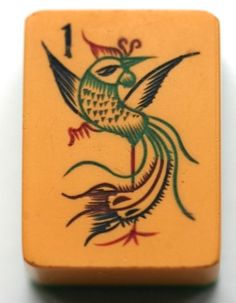 This lovely Chinese Bakelite Mahjong phoenix comes from a set probably made in the 1930s. the phoenix is a popular creature on Mahjong sets