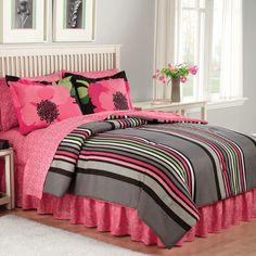 E Kabloom Collection Queen Bedding Set. The Kabloom bedding set features two gorgeous, oversized and very yummy flowers paired with a luscious black, charcoal gray and hot pink striped comforter. Twin Bed Comforter Sets, Teen Bedding Sets, Teen Girl Bedding, Pink Comforter, Pink Bedroom For Girls, Bed Sets, Dorm Bedding, Queen Bedding, Chic Bedding