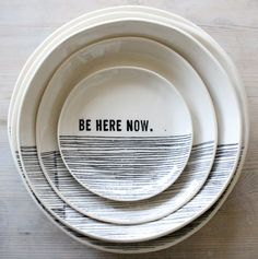 porcelain dinnerplate modern screenprinted text and graphics.  IN STOCK