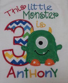This little Monster is ONE Birthday shirt  by Birthdayshirtsanmore, $24.00