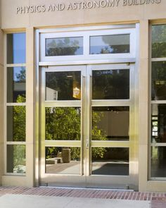 UCLA Physics Building Commercial Glass Doors, Entry Doors, Door Design, Space Saving, Nashville, Physics, New Homes, Healing, Windows