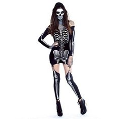 Wholesale Halloween Costumes - Adult Sexy X-Rayed Skeleton Costume