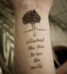 two things I love in a tattoo: tree and script.