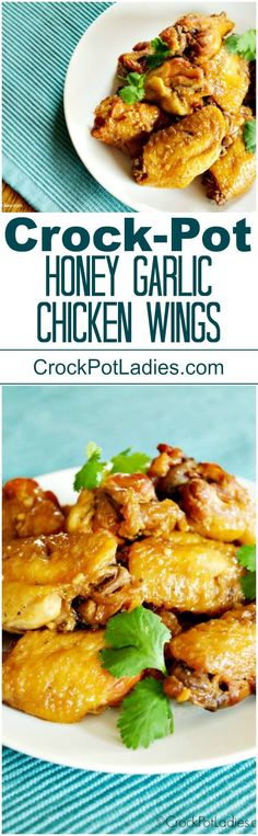Crock-Pot Honey Garlic Chicken Wings - Sink your teeth into this delicious recipe for Crock-Pot Honey Garlic Chicken Wings! Served as an appetizer or main dish, these wings are super yummy! options too! via (Crockpot Chicken Healthy) Slow Cooker Recipes, Crockpot Recipes, Cooking Recipes, Drink Recipes, Crockpot Dishes, Cocktail Recipes, Salad Recipes, Honey Garlic Chicken Wings, Honey Wings