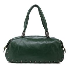 David Dark Green Leather Tote,Women Handbag,Retro Classic,Genuine Leather