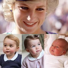 The late Diana, Princess of Wales and her three grandchildren, Prince George, Princess Charlotte and Prince Louis.