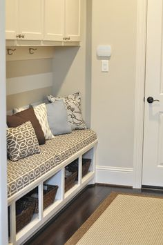 Honey We're Home: Our Mudroom Gets an Update (Envelope Pillows).perfect for a small area Mudroom Laundry Room, Mudroom Cubbies, Ideas Hogar, Home And Deco, My New Room, Home Organization, Organizing Ideas, Home Projects, Home Remodeling