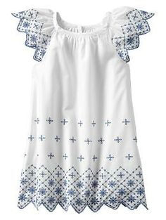 Contrast eyelet flutter dress | Gap