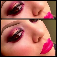 Lucious Hot pink lips & pink eye shadow for brown-eyed girls - def complimentary #makeup