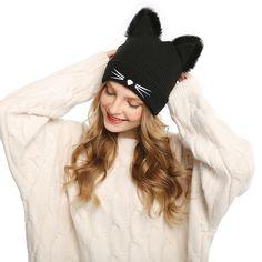 Warm Winter Cat Ears Beanie. Winter Warm Hats for Women s ... e0aa16ecf4c7