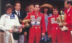 Senna wins his second Monaco Grand Prix beating Prost and Stefano Modena. It was a sweet victory for the Brazilian over his French arch rival. French Arch, Michele Alboreto, Gerhard Berger, Big And Rich, Prince Rainier, Monaco Grand Prix, Princess Caroline, Prince Albert, Still Love You