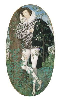 A Young Man Leaning Against a Tree Amongst Roses (1585-95)   Nicholas Hilliard