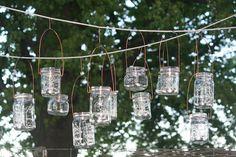 Mason Jar Lanterns Jars and Copper Wire Hangers-Upcycled Jars-Wedding Decor- Hanging Candle Jars Set of 12 on Etsy, $60.00