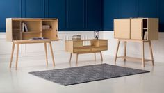 The debut collaboration by renowned designer makers Sarah Kay and Chris Eckersley, Stipo is a modular series of storage and display units that can be interchanged to provide truly flexible furniture. Made from solid ash with oak veneer, this contemporary take on the classic Bureau Unit cleverly unfolds to provide the ideal desk for compact spaces or a sleek cocktail cabinet.