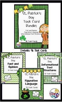 These 96 Task Cards (3 sets) are focused on fact and opinion, figurative language, and informational text structures. Each task card has a fun or interesting St. Patrick's Day theme and gives your students some great common core reading strategy practice. $