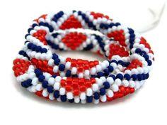 Flag Bangle Bead Crochet Bracelet Stars &  Stripes by LanmomOriginals #Group2020