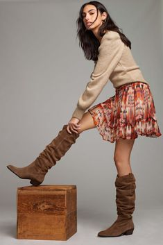 Anthropologie Tall Scrunch Boots Tall Brown Boots, Wide Calf Boots, Knee High Boots, 50 Fashion, Autumn Fashion, Fall Winter Outfits, Anthropologie, My Style, Skirts